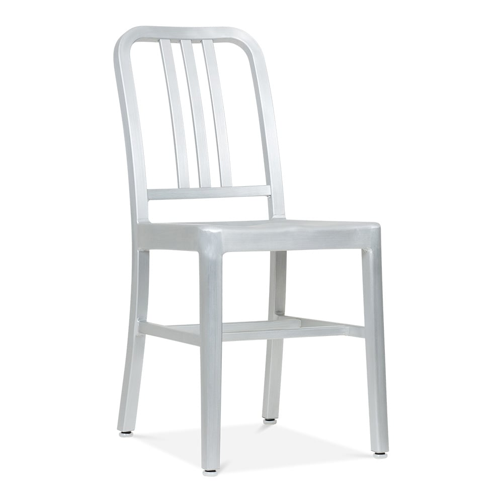 Navy Style Metal Dining Navy Chair 1006   Silver Anodized