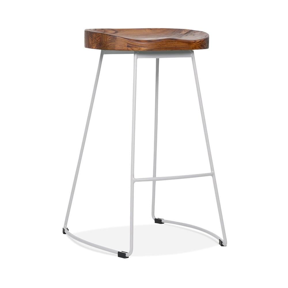 victoria metal bar stool with dark wood seat matte grey. Black Bedroom Furniture Sets. Home Design Ideas