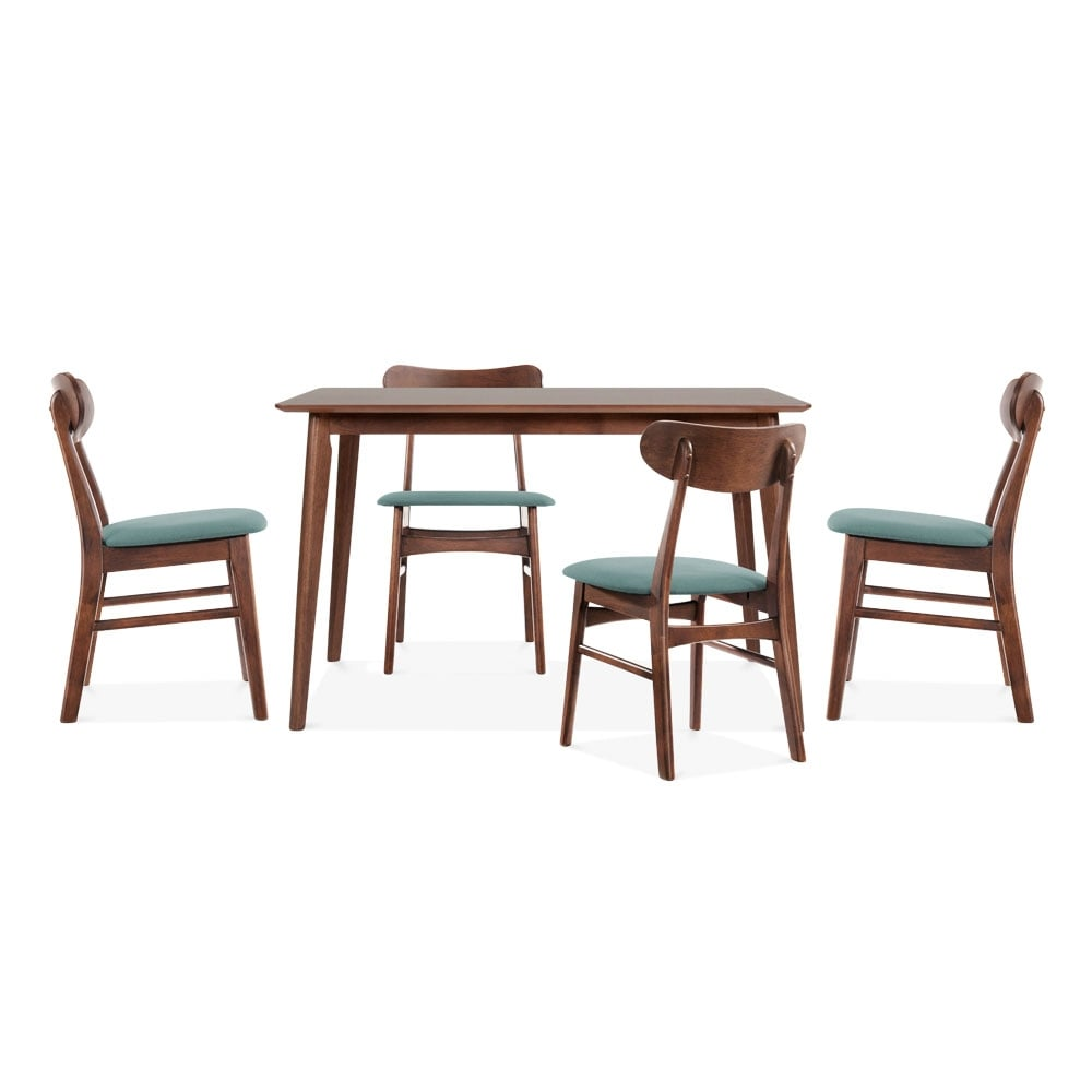 Milton wooden dining set 1 table 4 chairs in walnut and for Wooden dining table chairs