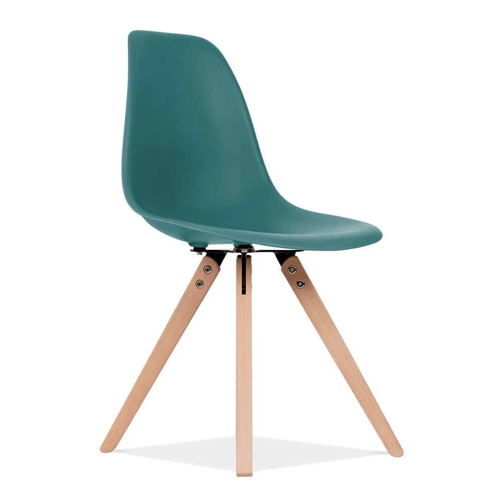 Eames inspired teal dsw dining chair with pyramid wood legs for Inspiration eames