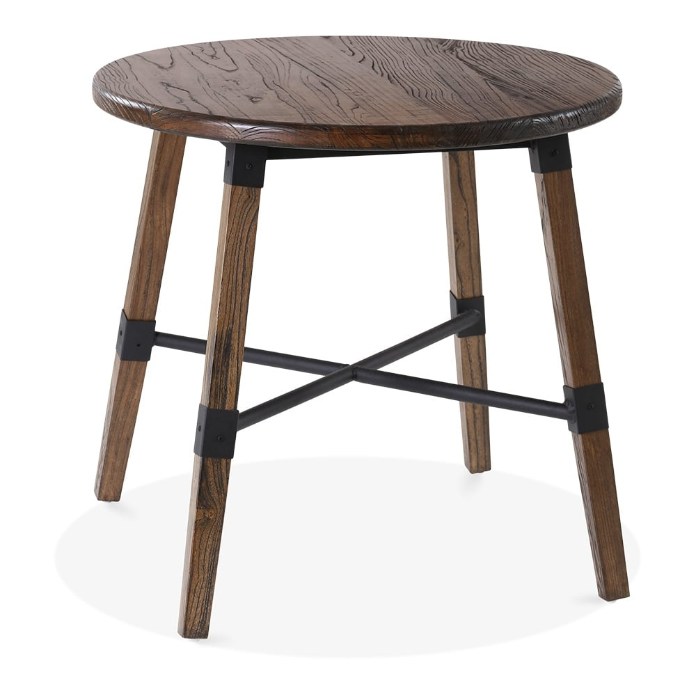 cult living bastille round wooden dining table brown 80cm