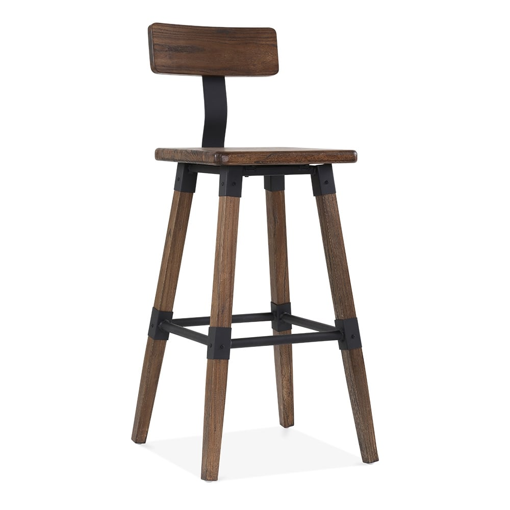 Square Bar Stools ~ Bastille brown square bar stool with backrest cult furniture