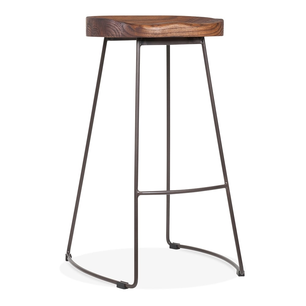 Victoria Metal High Stool With Wood Seat Rustic 75cm Cult Uk