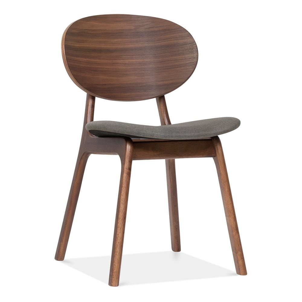 Elka upholstered wooden dining chair cool grey cult