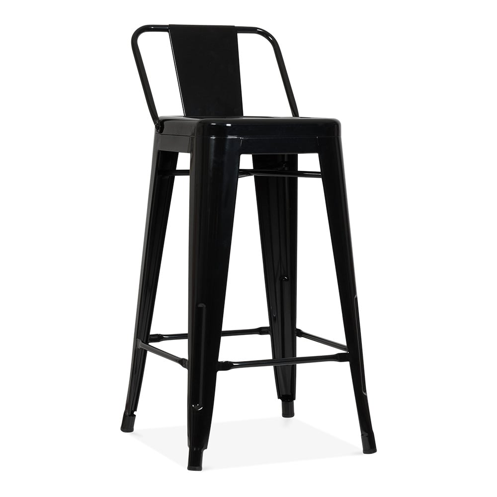 Black Metal Bar Stool With Brown Microfiber Seat By: Tolix Style Metal Bar Stool With Low Back Rest Black 65cm
