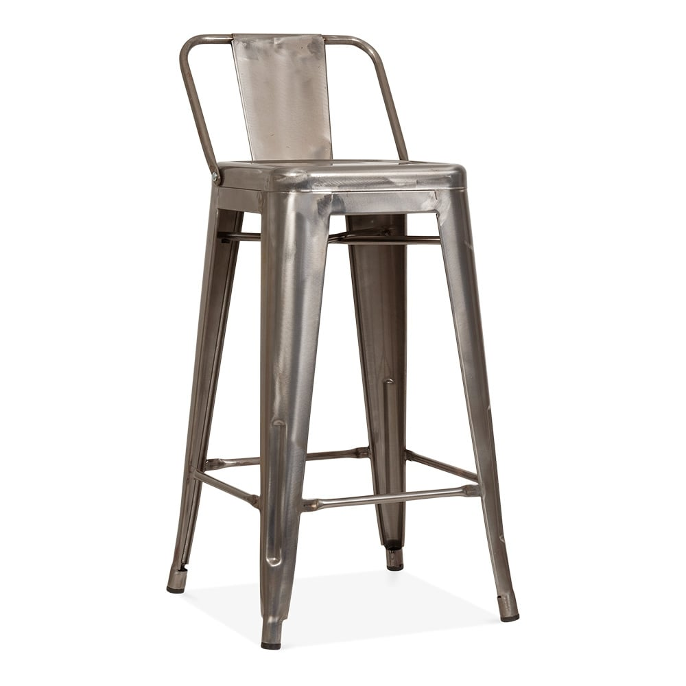 Tolix Style Metal Bar Stool with Low Back Rest Gunmetal 65cm Cult UK # Chaise Tolix Assise Bois