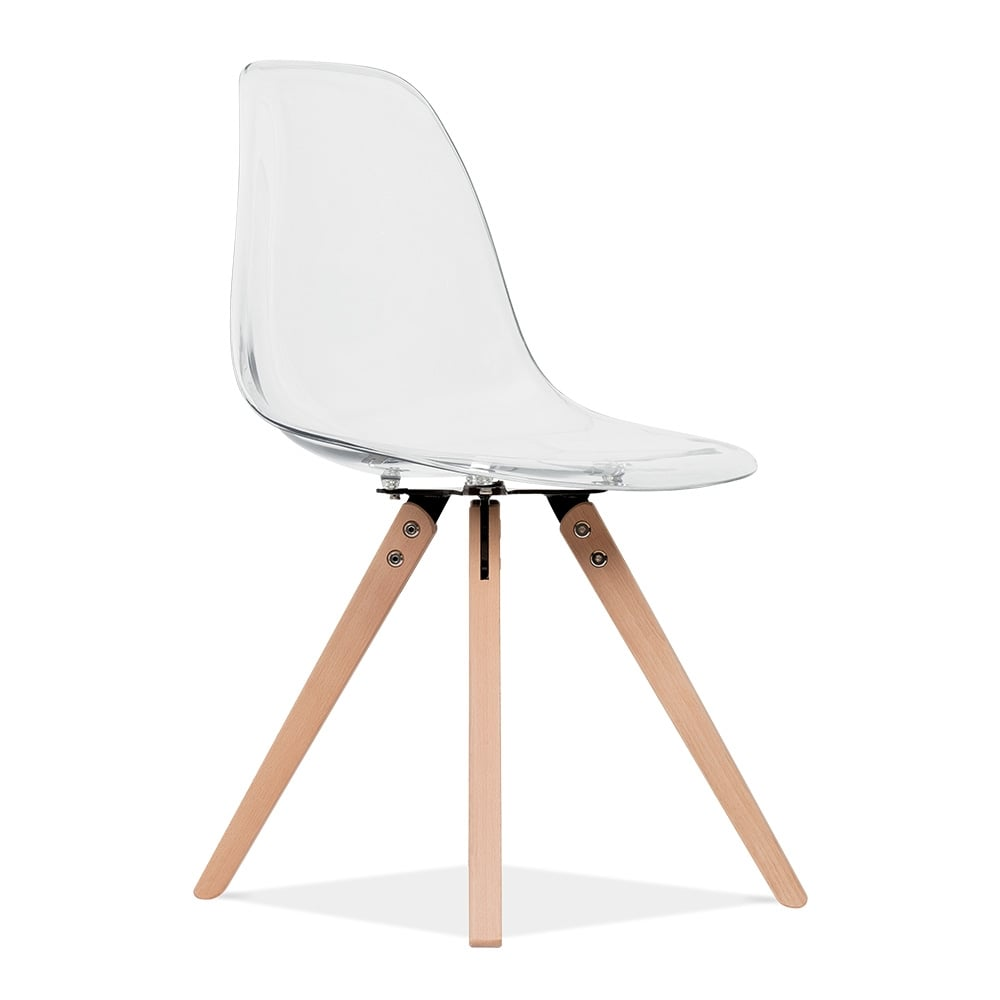 Eames inspired transparent dsw dining chair with pyramid for Chaise blanche eames