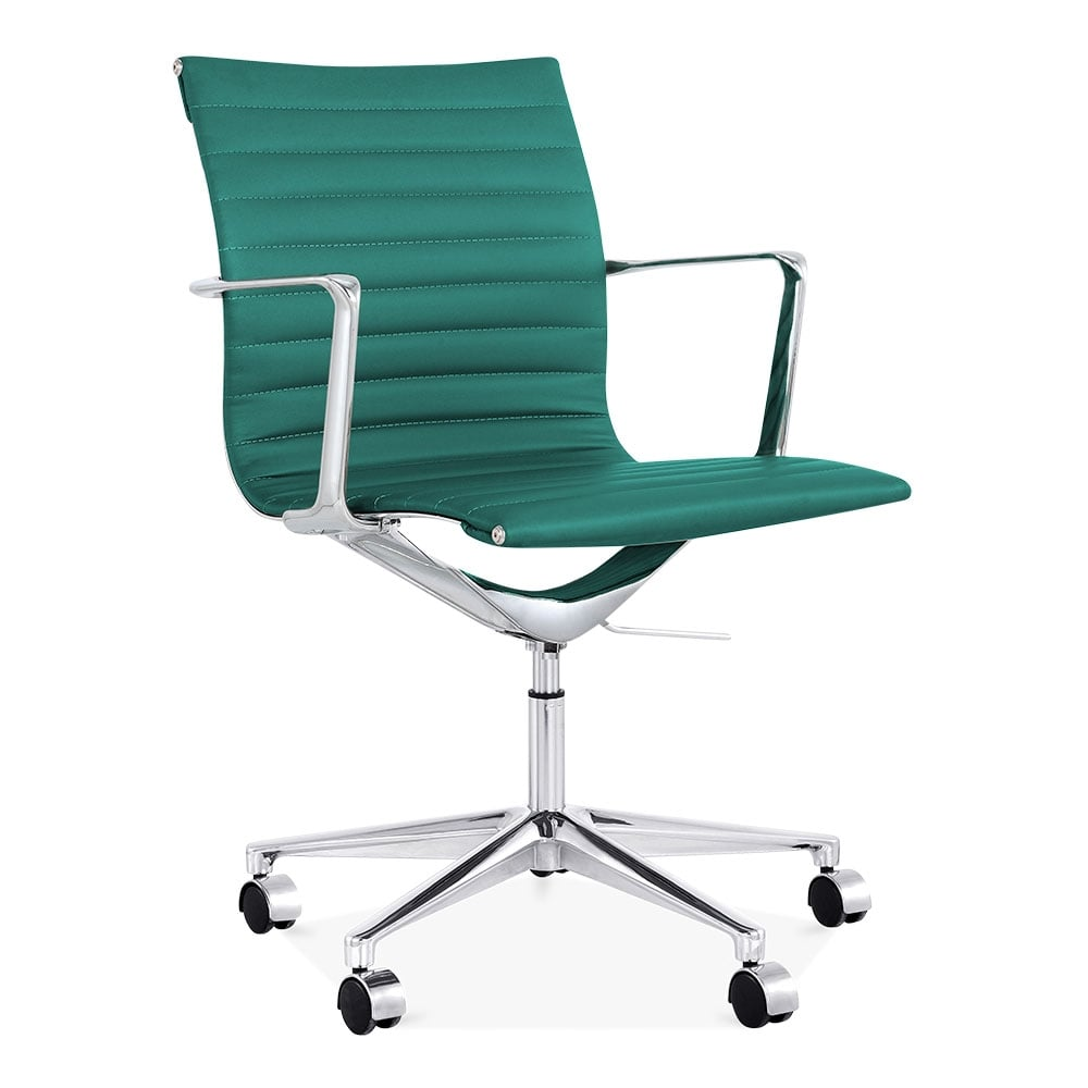 Teal Office Chair : Cult living teal ribbed office chair with short back uk