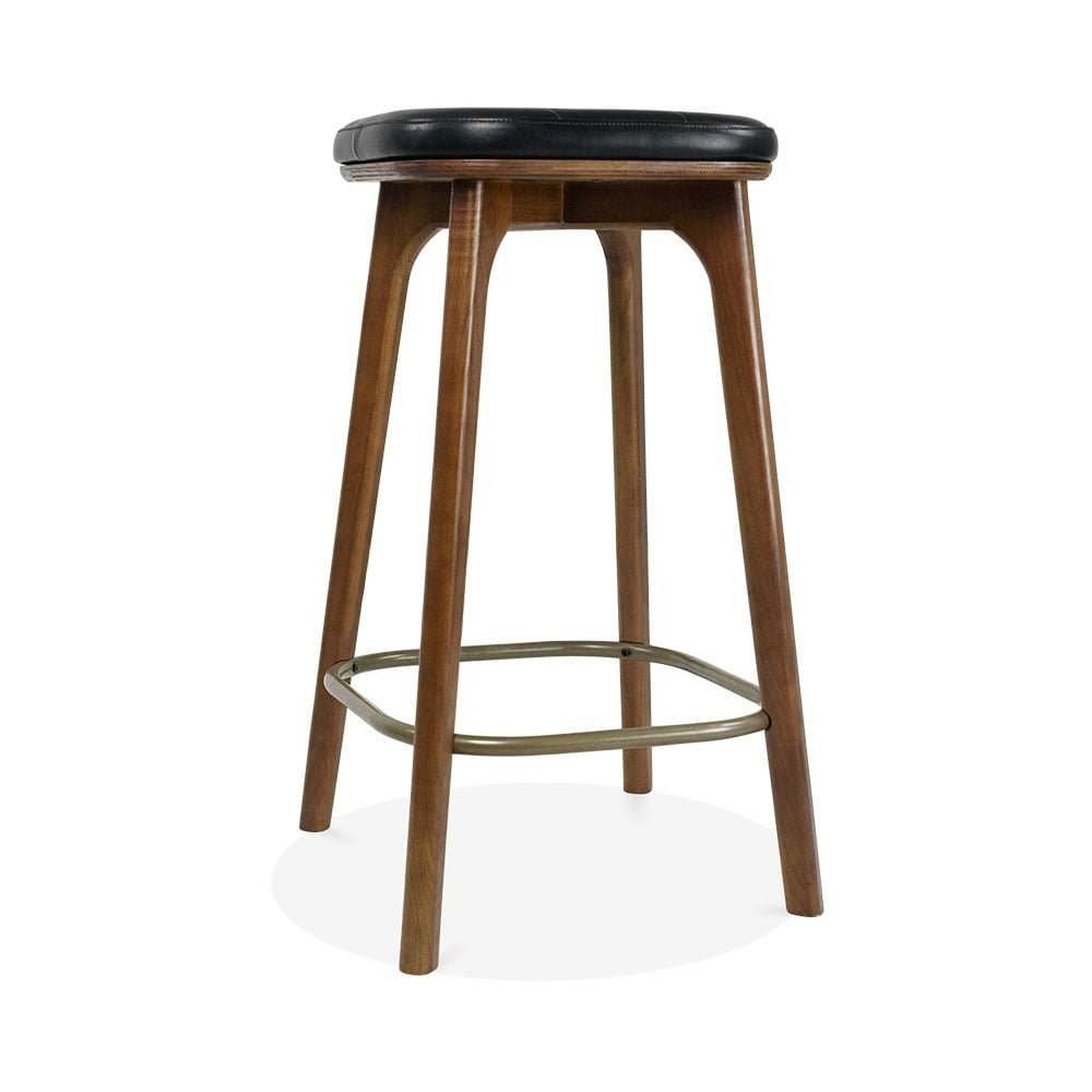 winchester upholstered wooden bar stool black walnut 65cm cult uk. Black Bedroom Furniture Sets. Home Design Ideas
