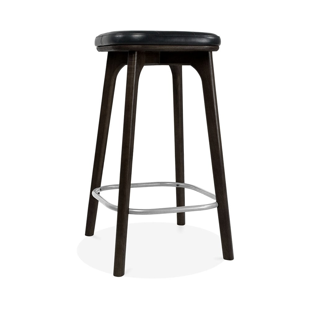 Winchester upholstered wooden bar stool black black 65cm for Bar stools clearance