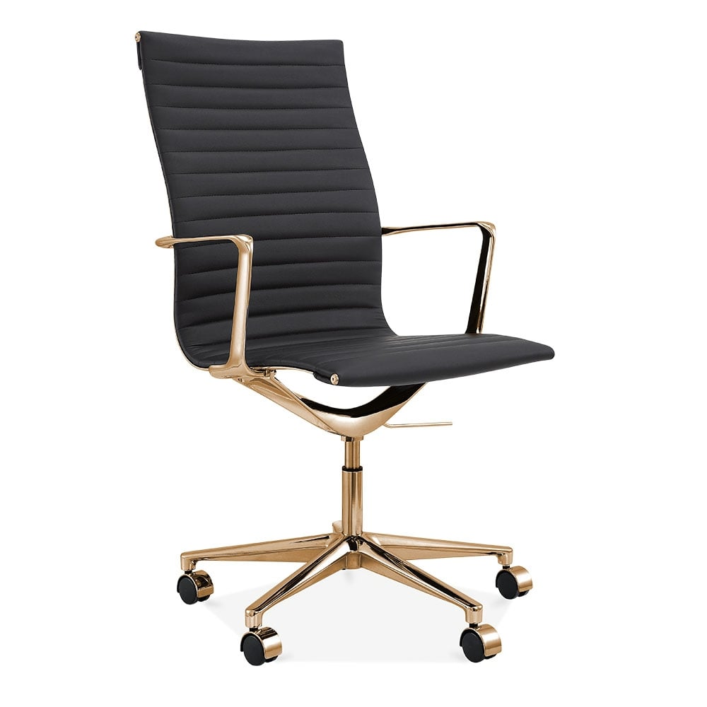 Cult Living Black And Gold Ribbed Office Chair With High Back Cult