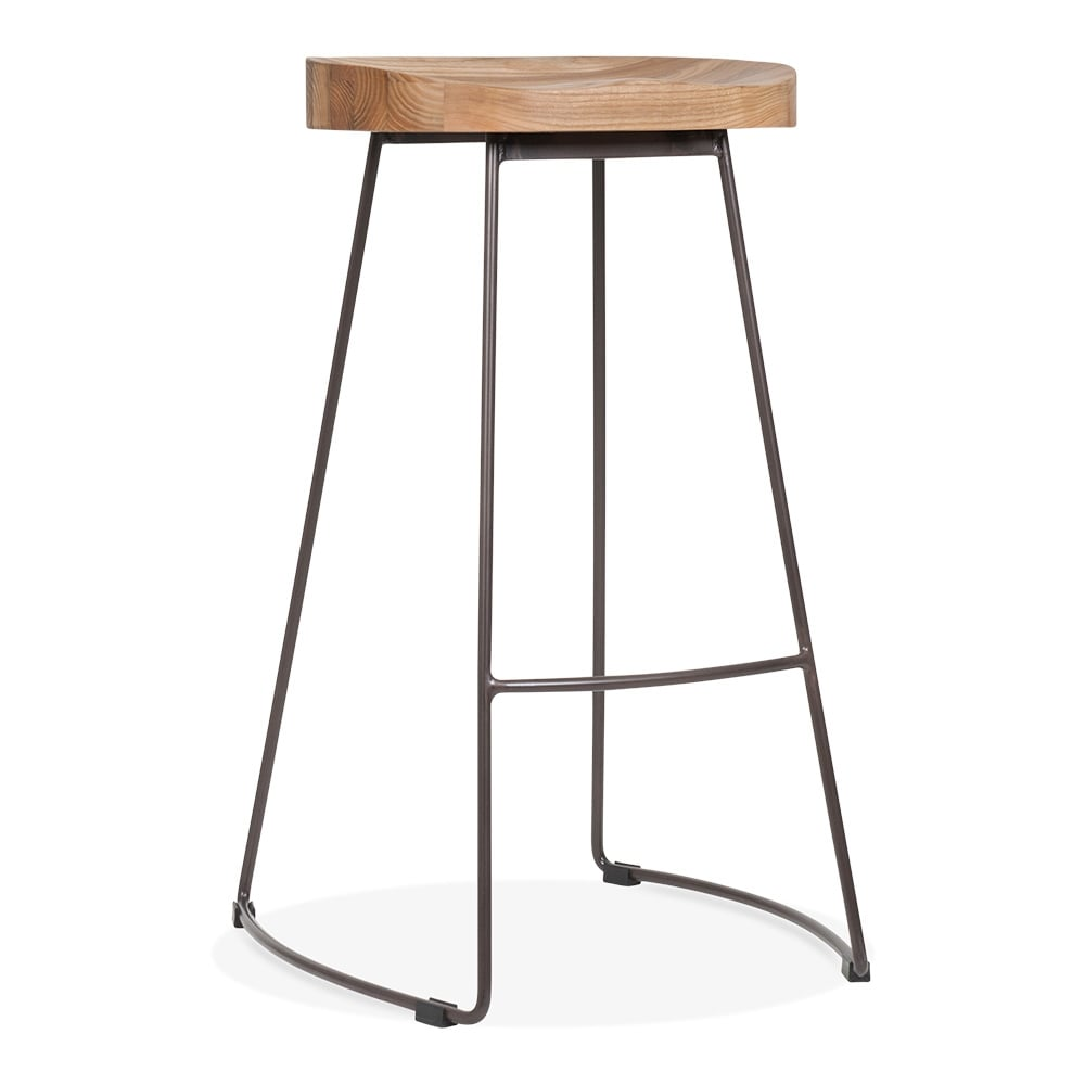 Cult Living Victoria Metal High Stool With Wood Seat Option   Rustic 75cm. U2039