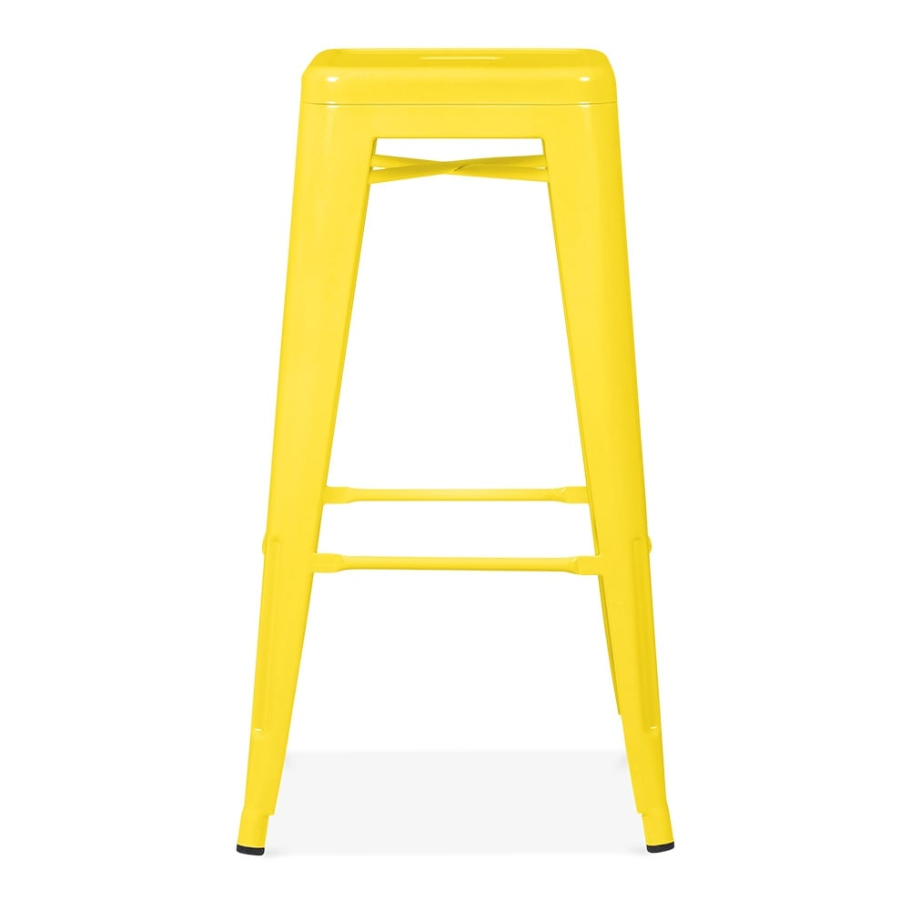 Yellow Powder Coated 75cm Tolix Style Industrial Stool