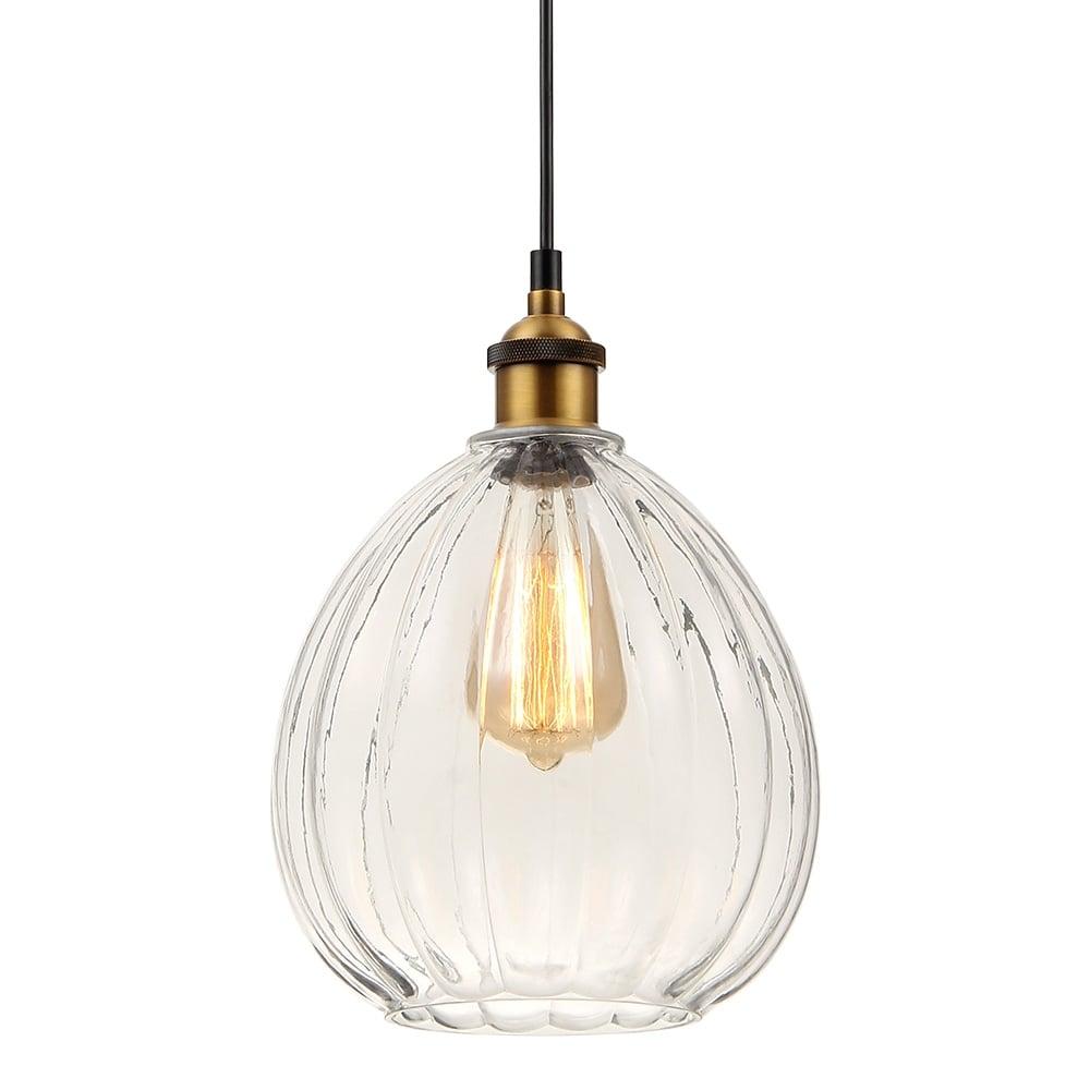 Clear Furrow Globe Glass Pendant Light Bar Restaurant