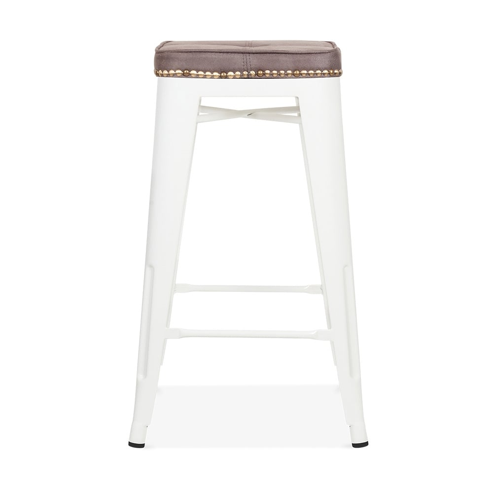 tolix style bar stool with cushion colour option white 65cm cult furniture. Black Bedroom Furniture Sets. Home Design Ideas