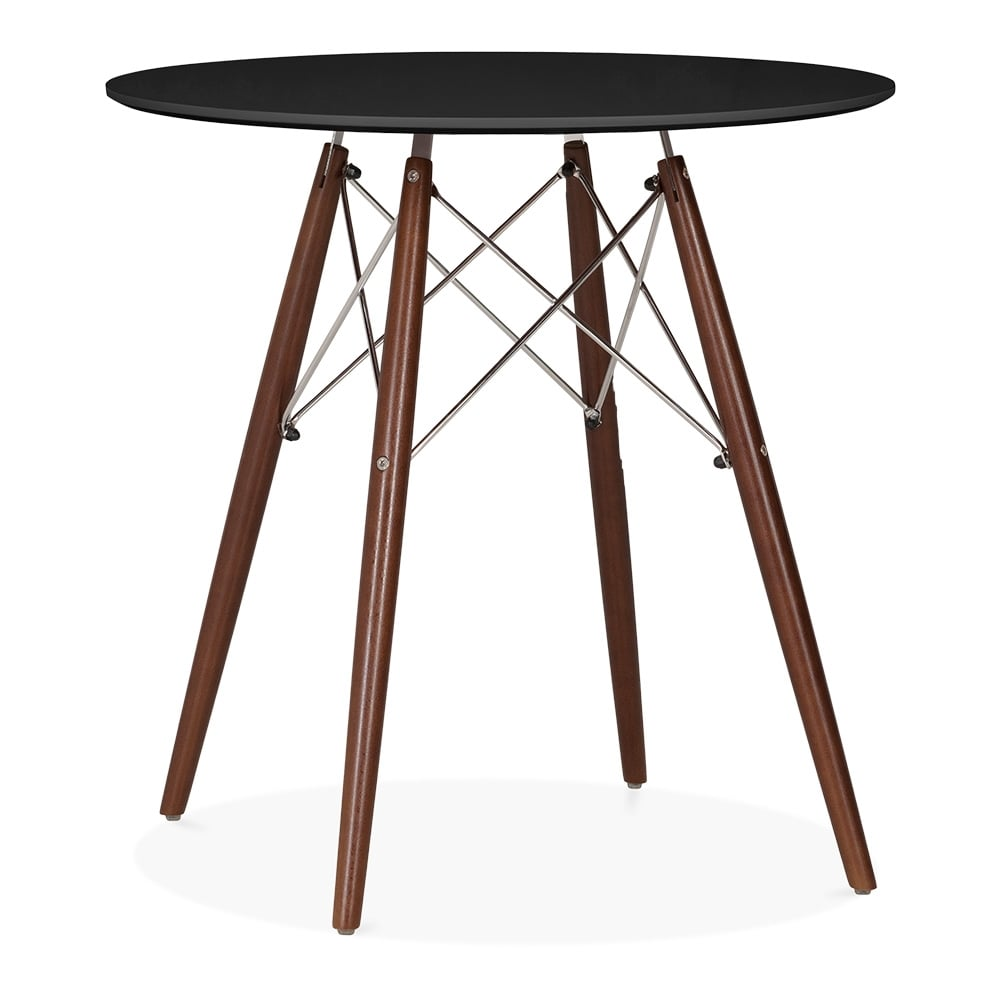 Black eames style small dsw round table black 70cm for Black round dining table