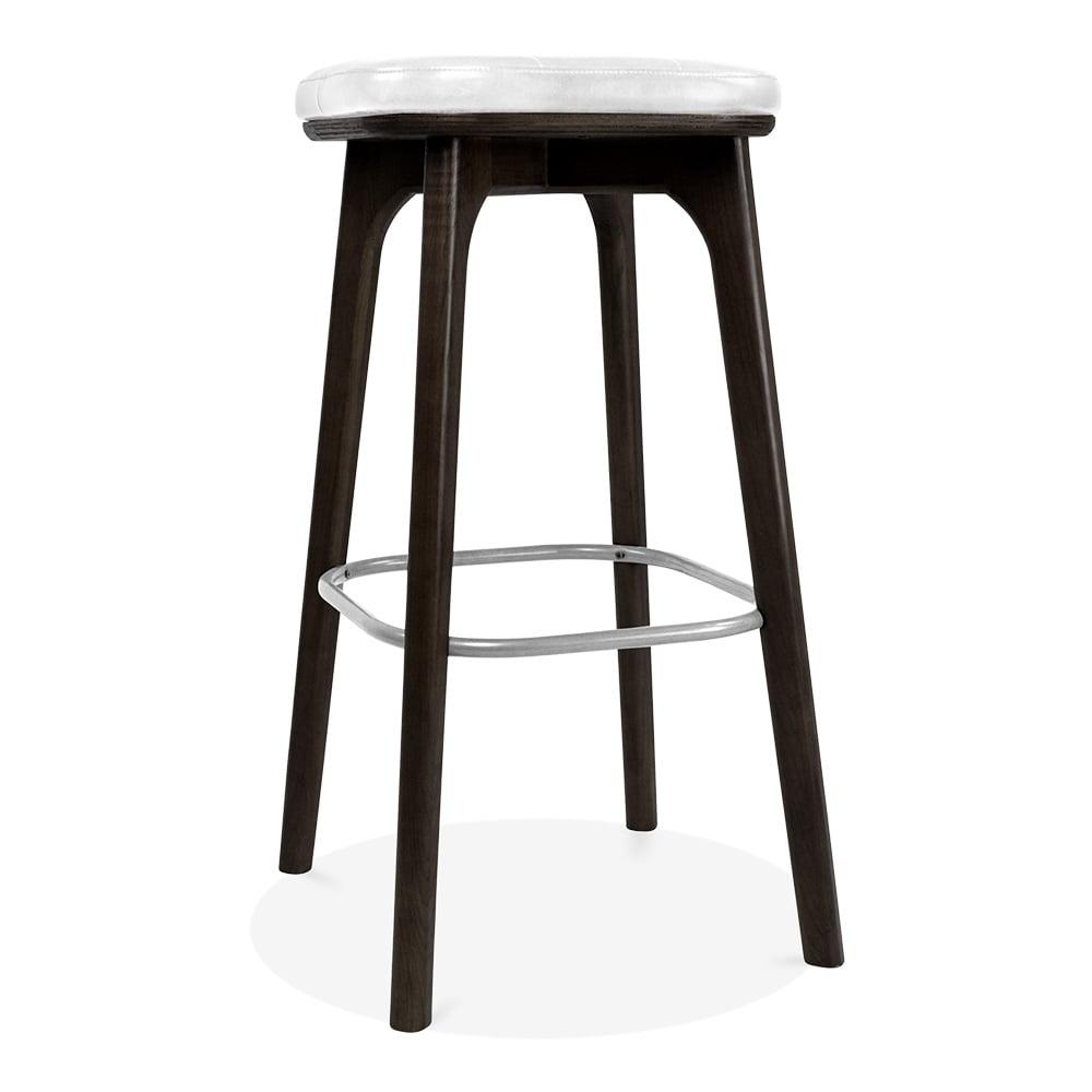 Winchester Upholstered Wooden Bar Stool White & Black 75cm