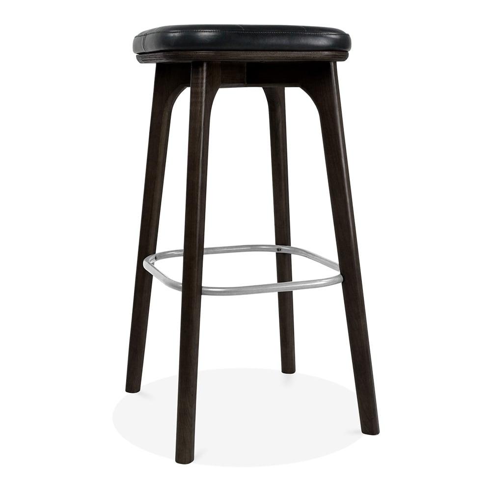Winchester Upholstered Wooden Bar Stool Black Amp Black 75cm