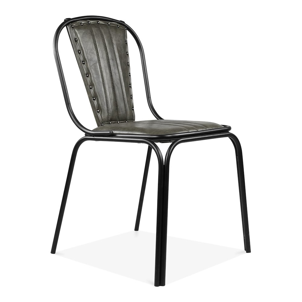 Whitney Leather Upholstered Studded Dining Chair Grey