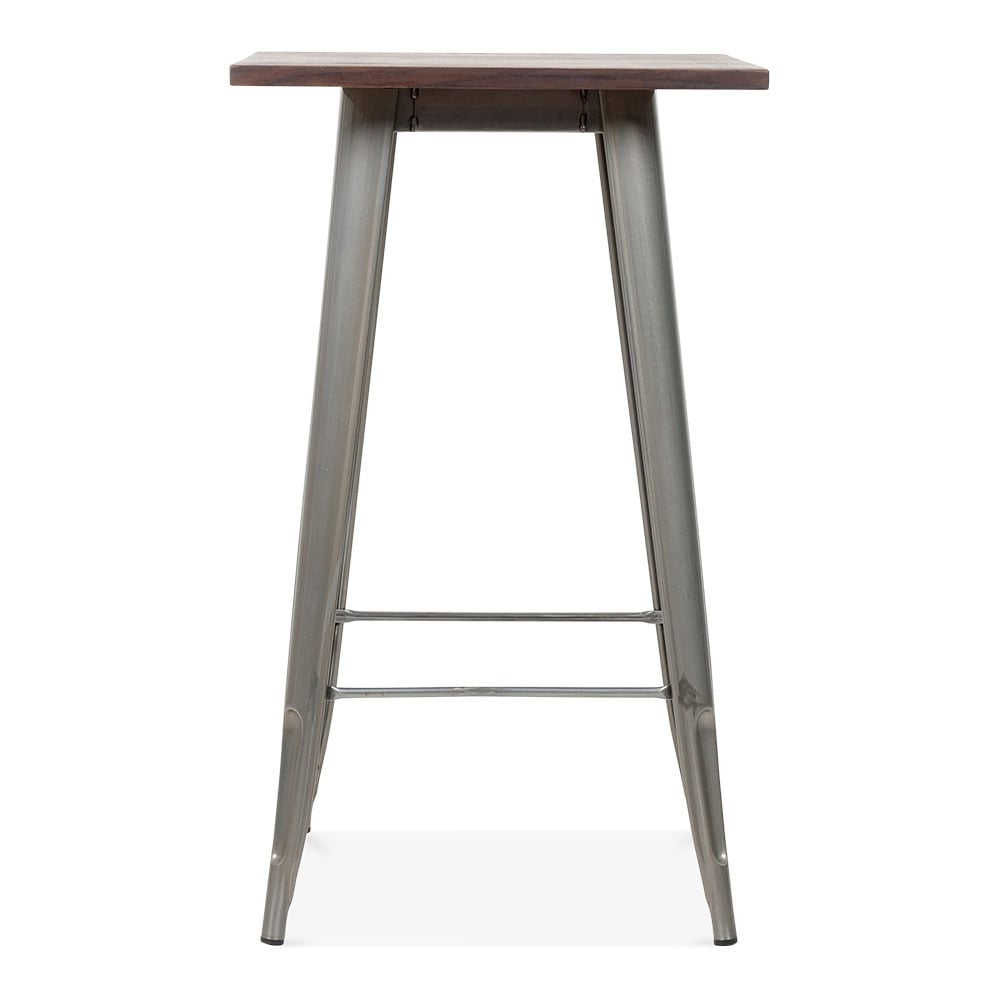 tolix style metal bar table with wood top gunmetal 102cm. Black Bedroom Furniture Sets. Home Design Ideas