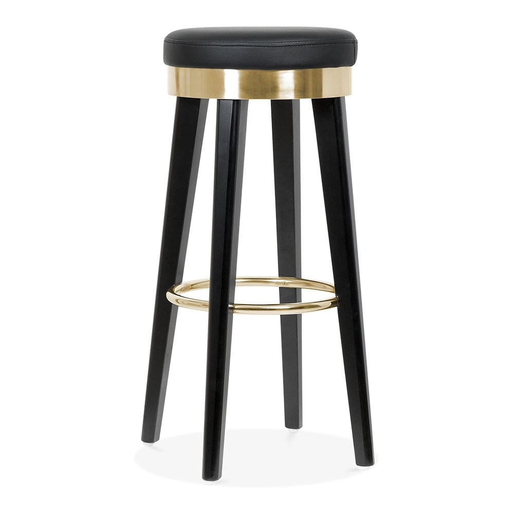 fusion wooden bar stool with metal ring black gold 75cm. Black Bedroom Furniture Sets. Home Design Ideas