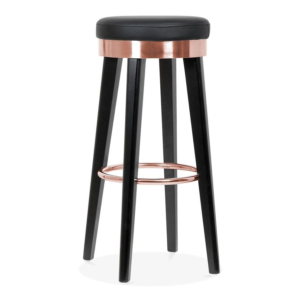 Fusion Wooden Bar Stool With Metal Ring Black Copper 75cm