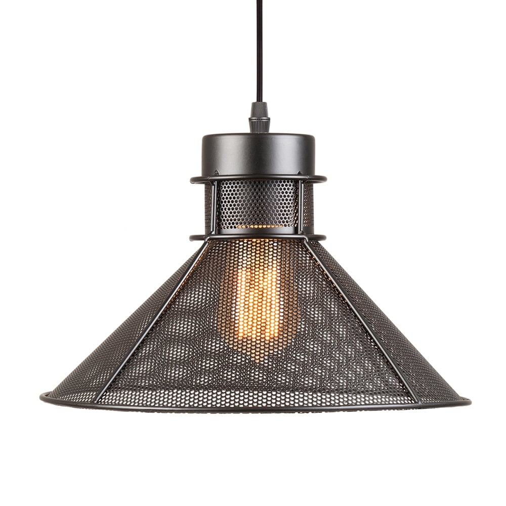 Perforated cone metal pendant light black cult furniture uk for Metal hanging lights