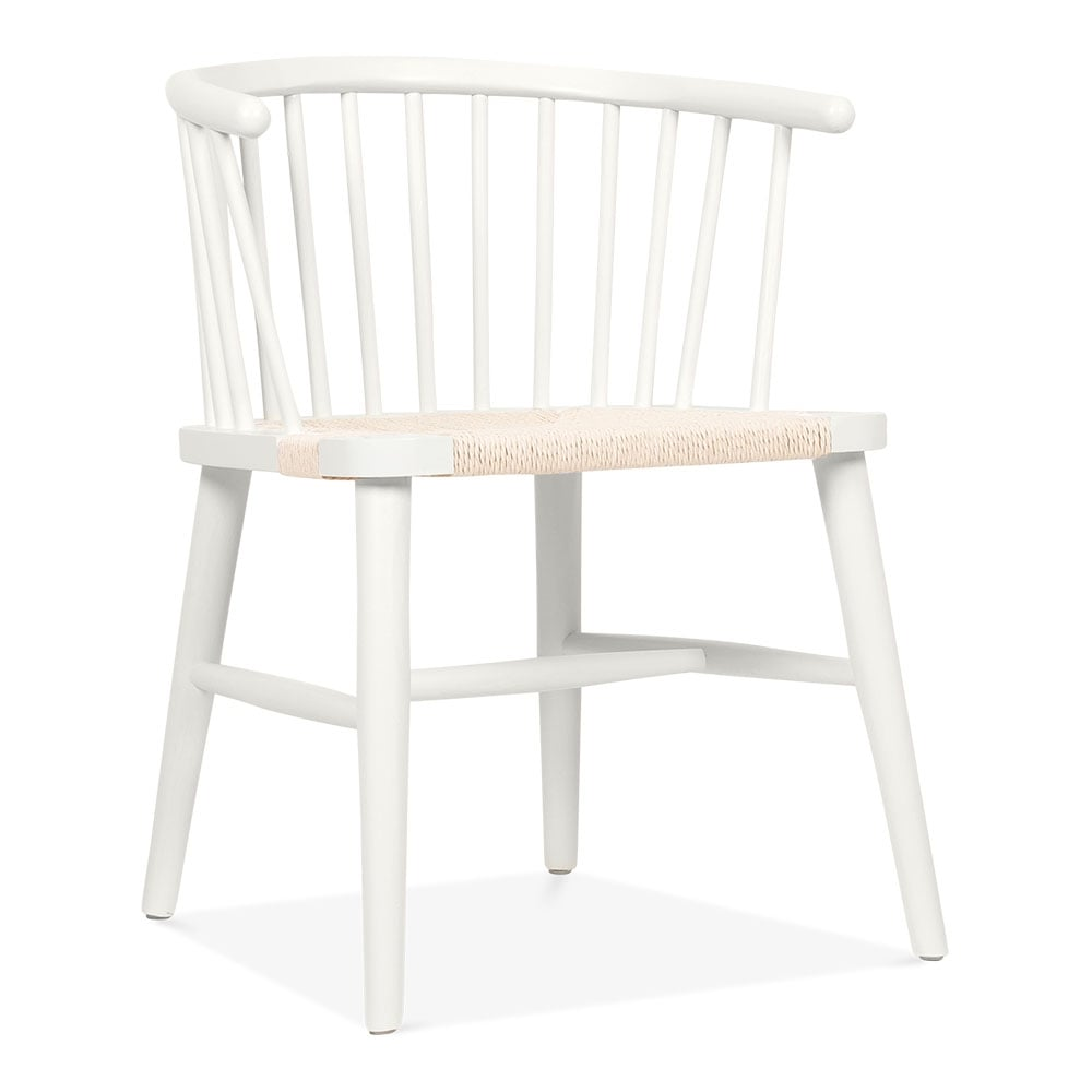 Cult Living Isabella White Dining Armchair With Rattan Seat Cult Uk