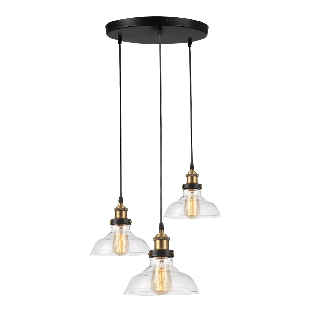 Glass Triple Shade Pendant Chandelier Light Restaurant