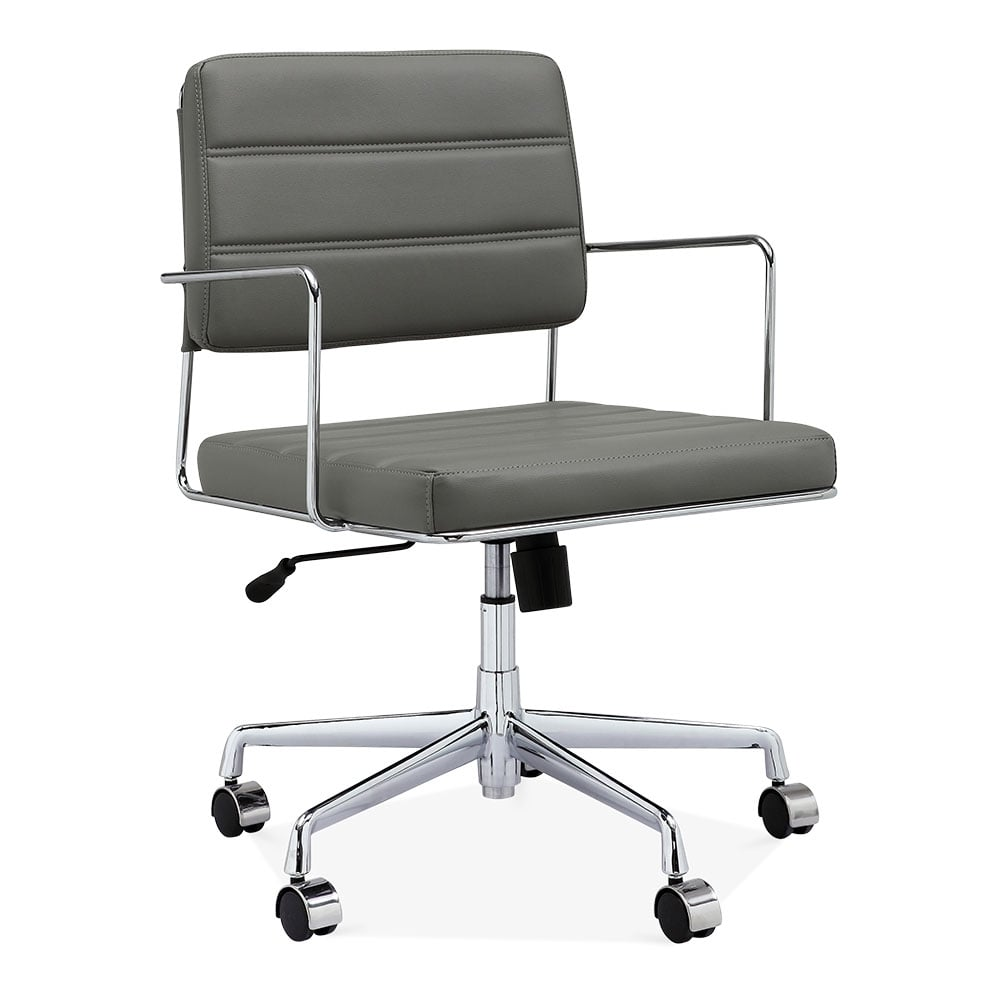 leather office chair modern. Grosvenor Padded Leather Office Chair - Grey / Chrome Modern