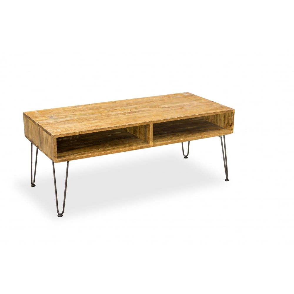 Industrial Living Hairpin Retro Coffee Table, Solid Mango Wood