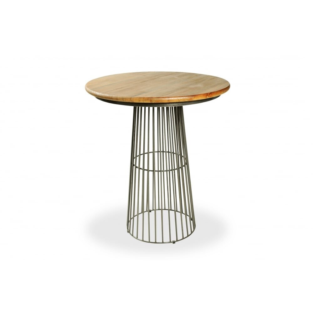 High Bar Table Part - 30: Industrial Living Birdcage Industrial High Bar Table, Solid Mango Wood