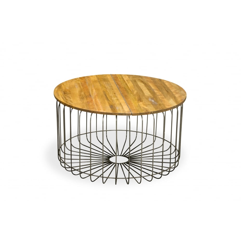 Mango Wood Birdcage Round Industrial Coffee Table Reclaimed Wood Furniture