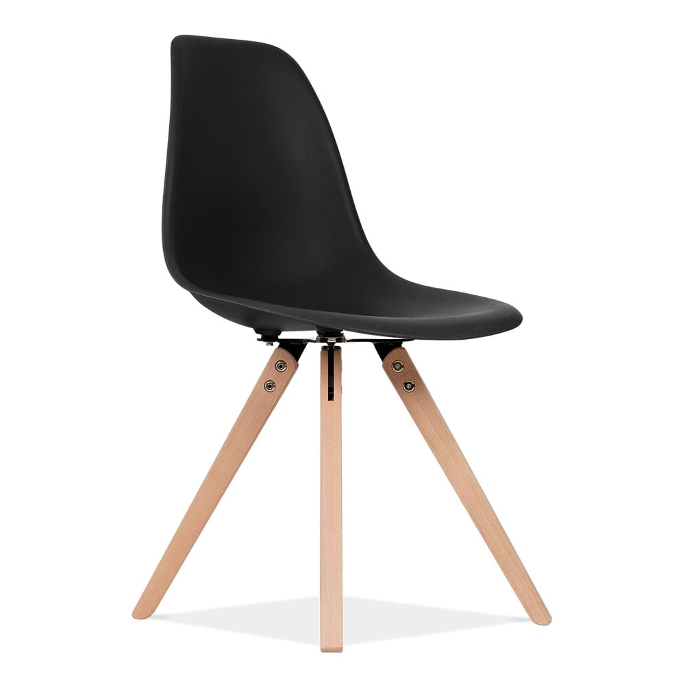 eames inspired black dsw style dining chair with pyramid wood legs