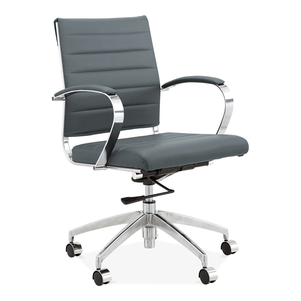 cult living deluxe grey office chair  eames inspired  cult uk - cult living deluxe office chair with short backrest  grey