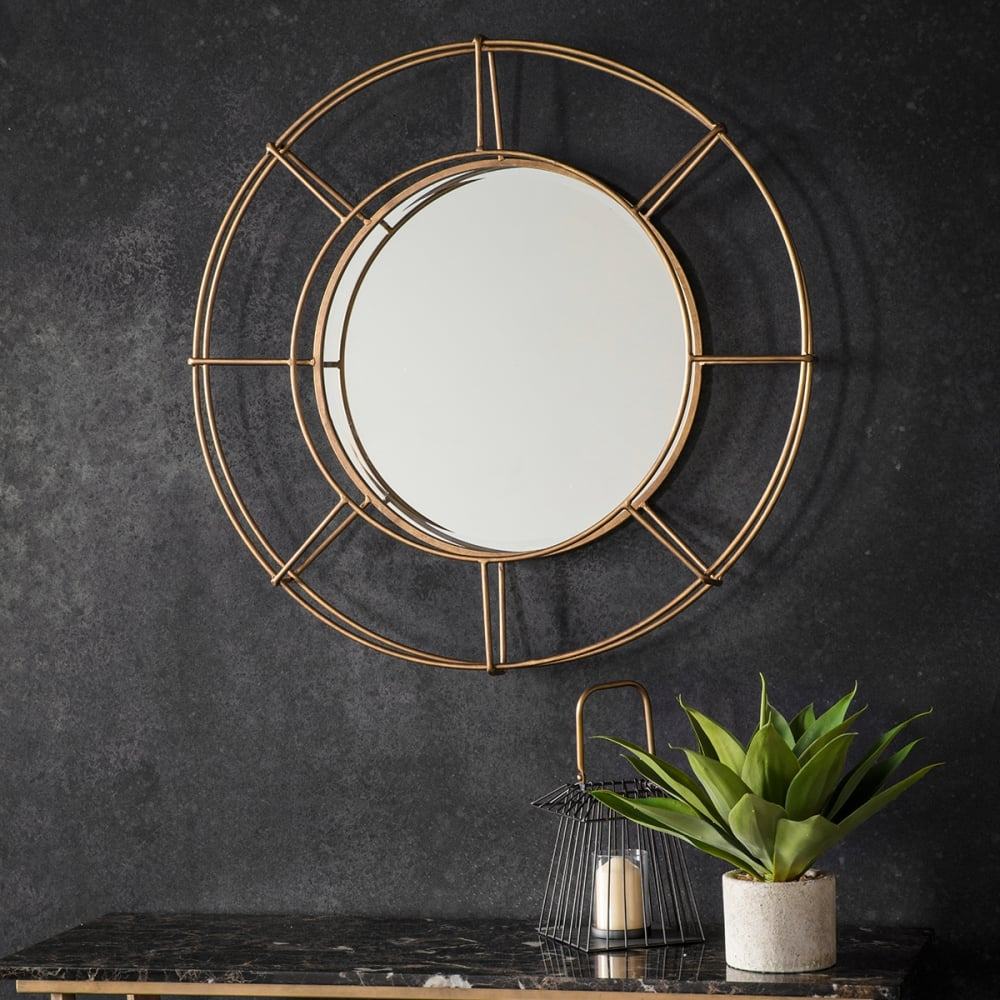 Portal industrial metal round mirror gold contemporary for Miroir style industriel