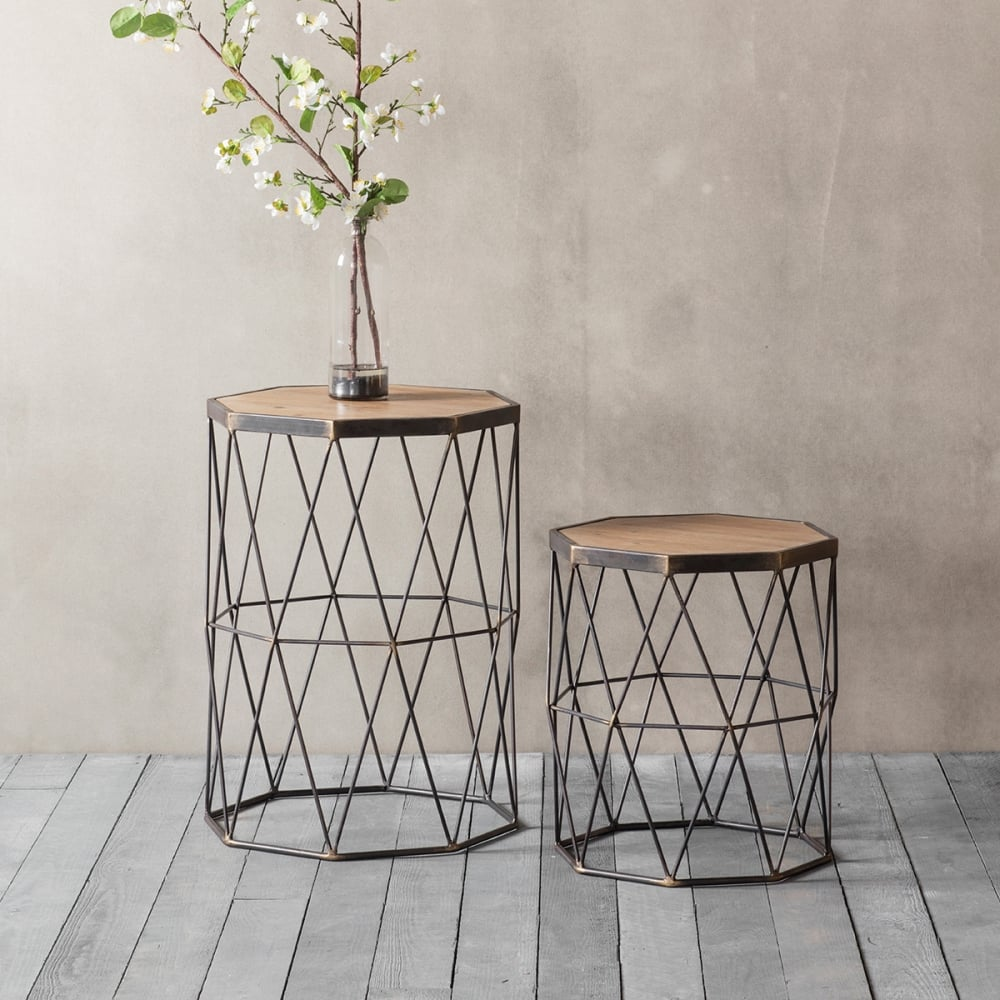 Chiltern set of 2 geometric side table modern coffee tables Modern side table