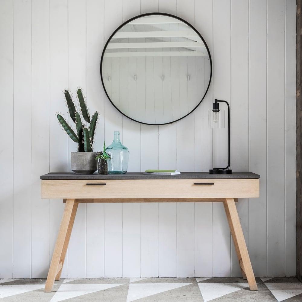 Verita Modern Console Table, Oak And Concrete
