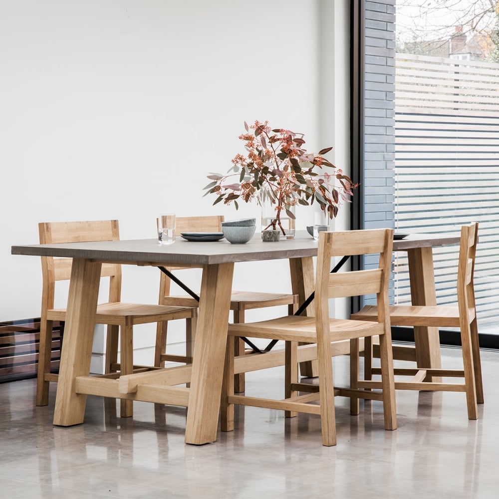 Modern wood dining room table - Verita Modern Trestle Dining Table Oak And Concrete