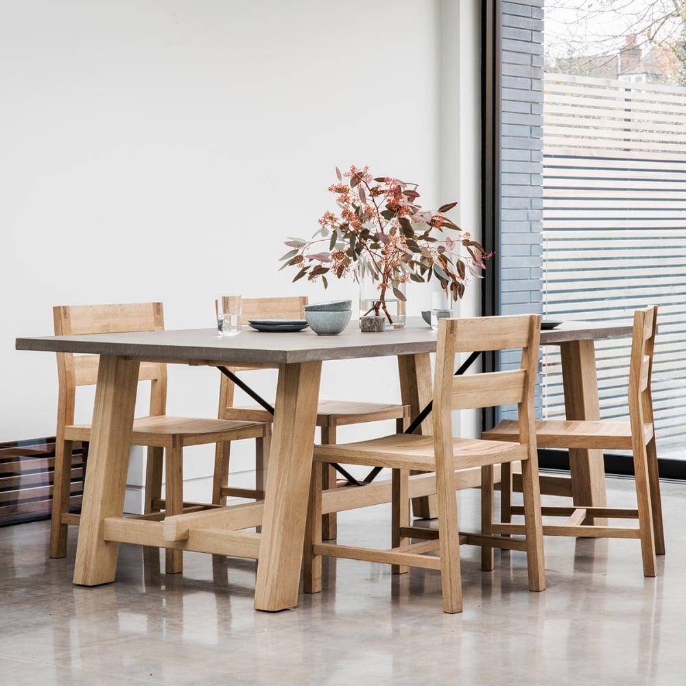 verita modern trestle dining table oak and concrete u2039