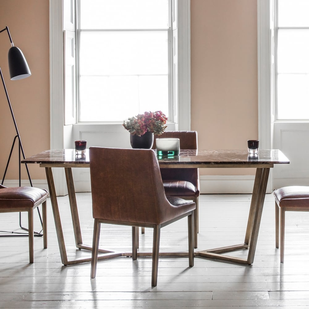 Gatsby Contemporary Marble Dining Table, Brown And Gold