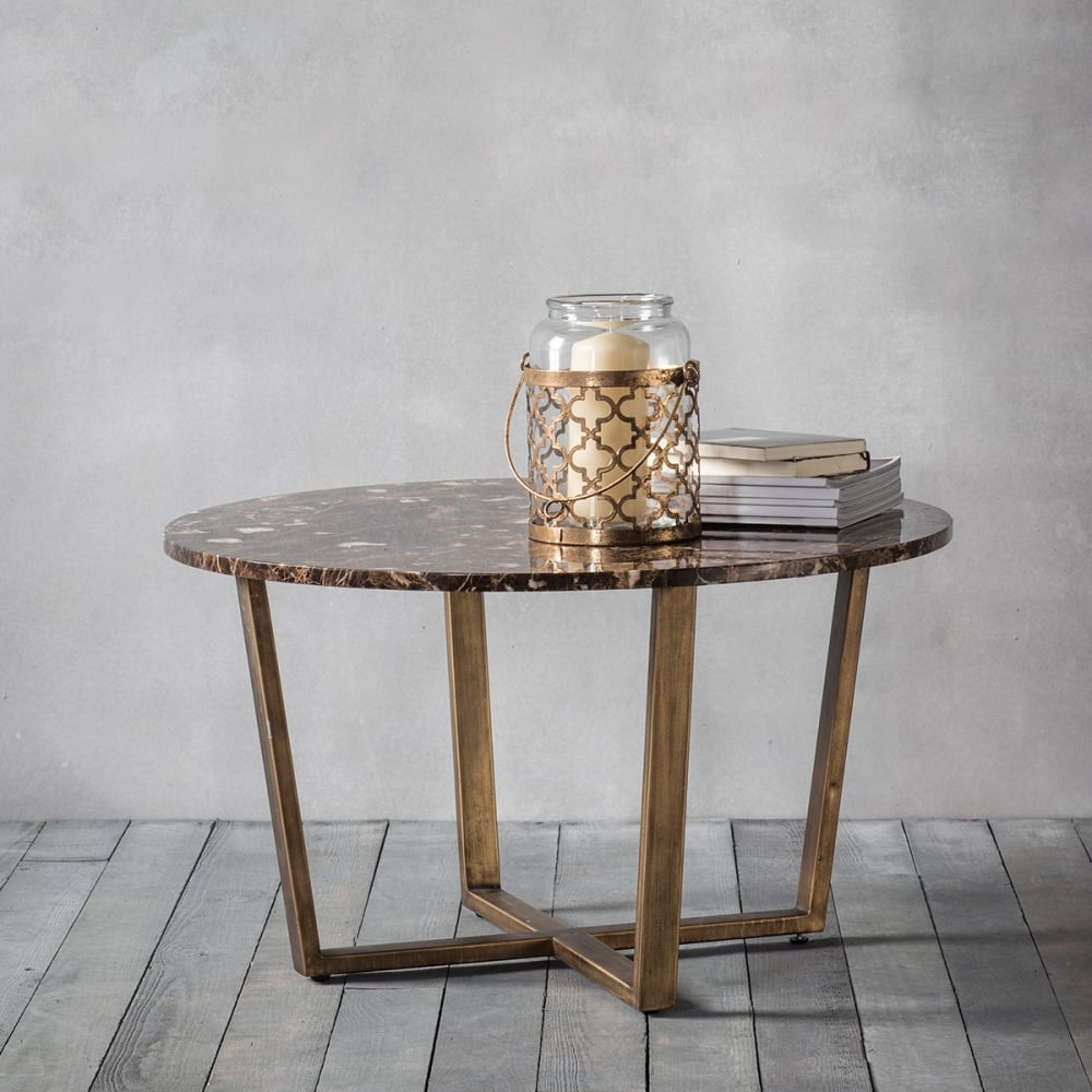 Gatsby Round Marble Coffee Table Brown Gold Coffee Side Tables