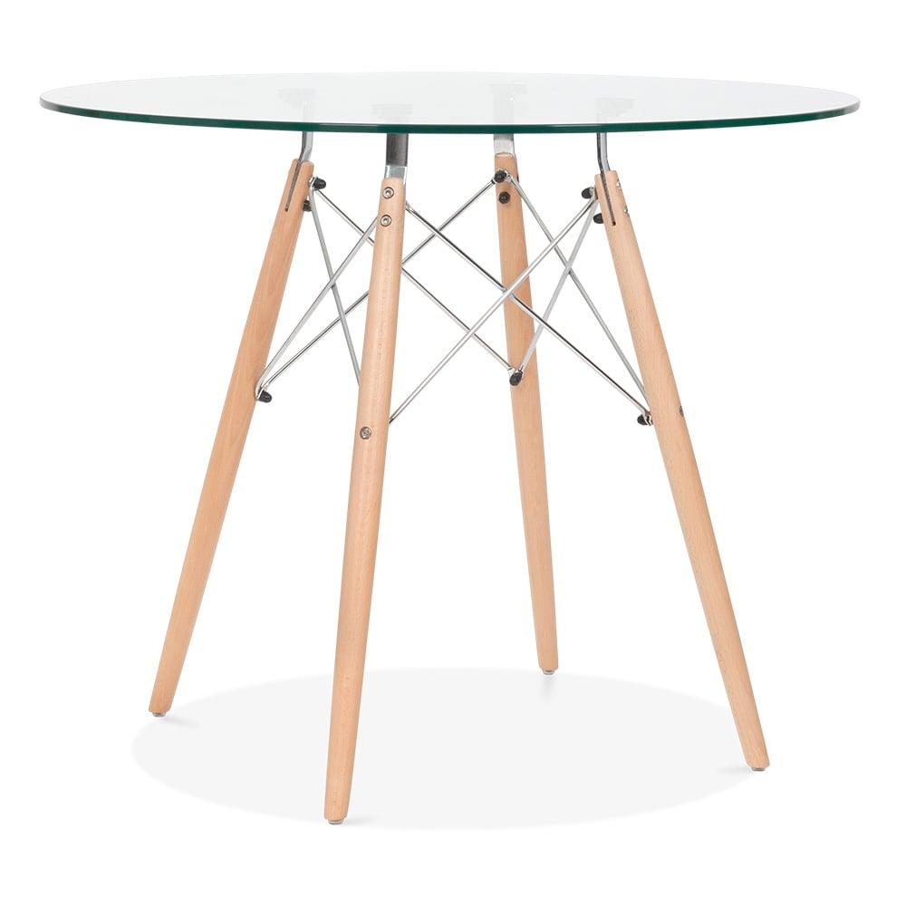 Amazing Iconic Designs DSW Glass Dining Table, Chrome Brace, 90cm Diameter. U2039