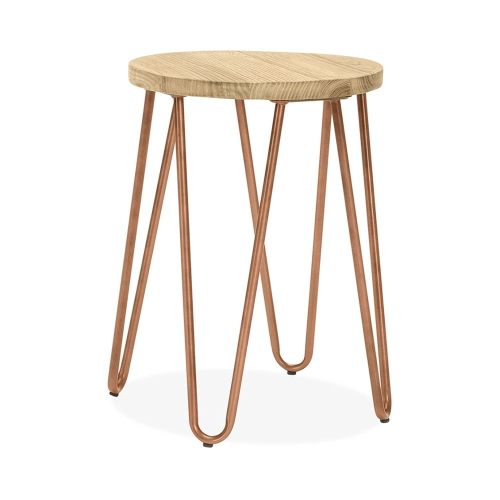 Hairpin Stool With Natural Wood Seat Vintage Copper 46cm