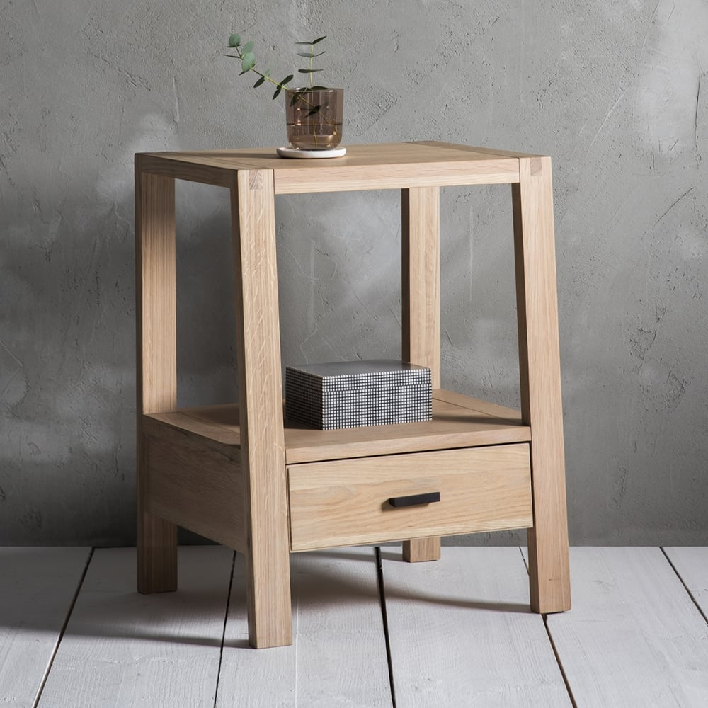 Waldorf 1 drawer bedside table oak modern bedroom furniture - Bedroom furniture bedside tables ...