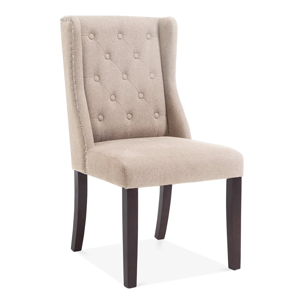 Sloane Wingback Dining Room Chair Cream Wool Upholstered