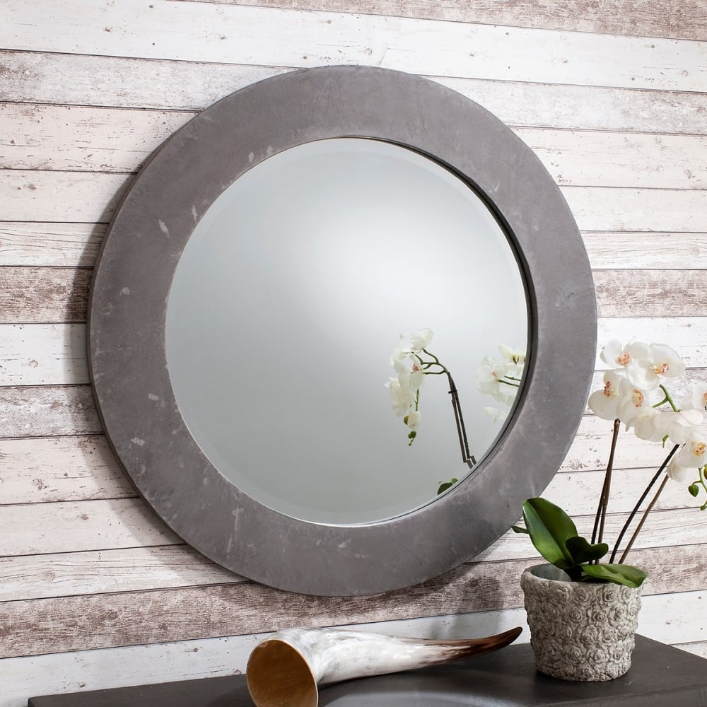Verita Modern Round Wall Mirror Concrete Cult Furniture