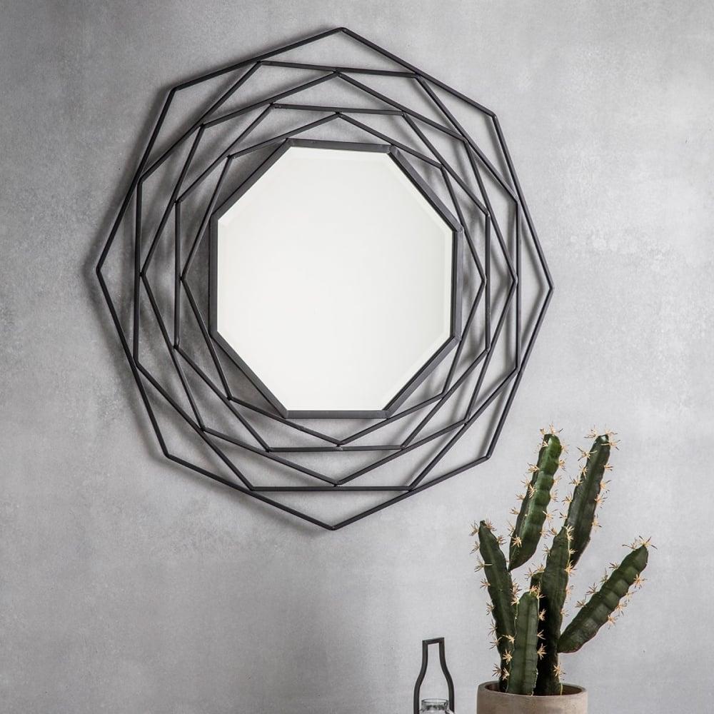 octave geometric metal wall mirror dark grey modern mirrors. Black Bedroom Furniture Sets. Home Design Ideas