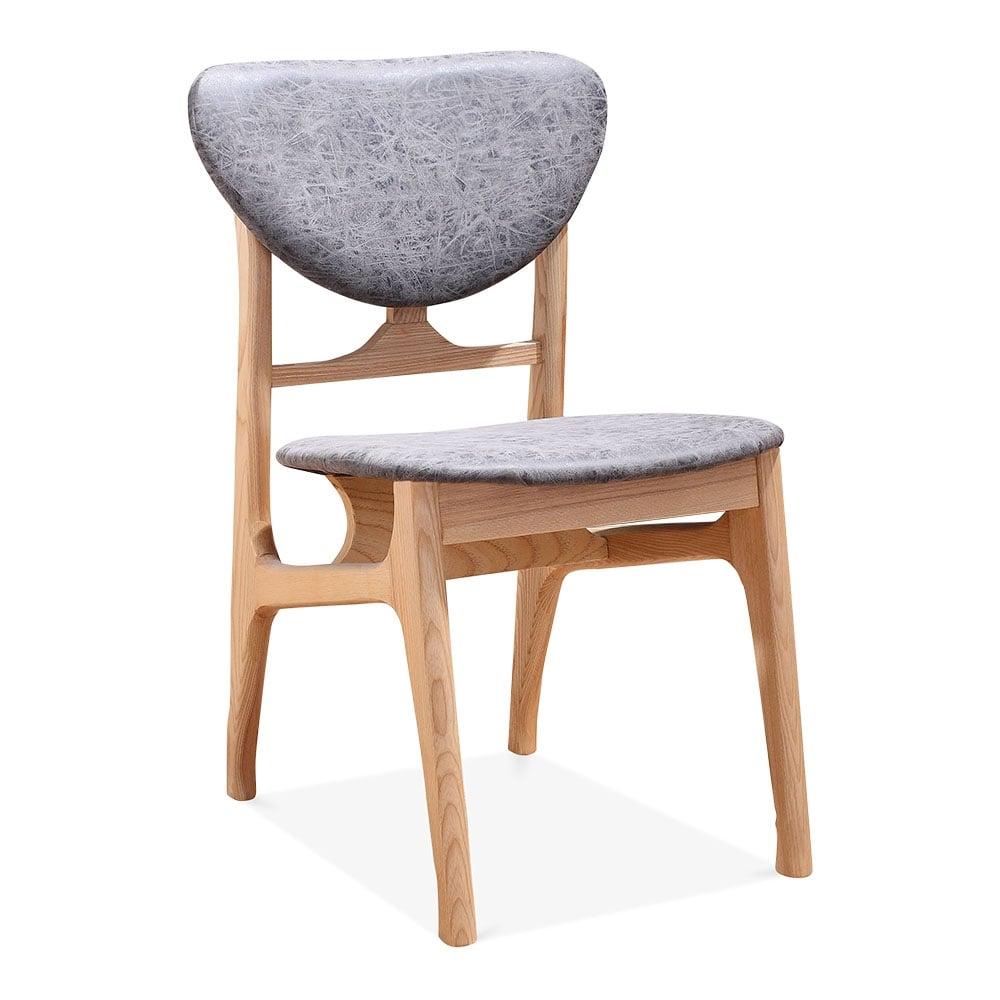 Cabin vintage dining chair solid natural wood grey
