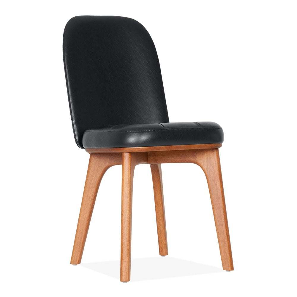 Colourful accent chairs - Winchester Solid Wood Side Chair Faux Leather Upholstered